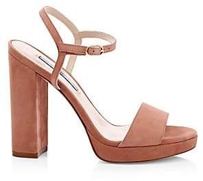 Stuart Weitzman Women's Sunray Suede Block-Heel Sandals