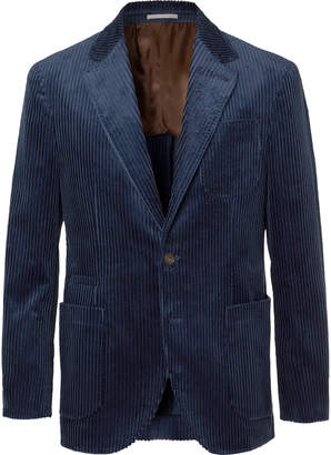 Brunello Cucinelli Royal-Blue Cotton-Corduroy Blazer