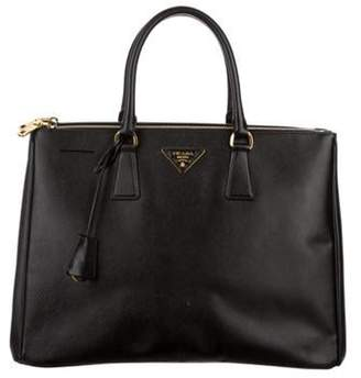 Prada Large Saffiano Lux Double Zip Galleria Tote Black Large Saffiano Lux Double Zip Galleria Tote