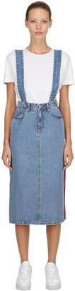 Sjyp Denim & Tartan Long Skirt W/ Suspenders