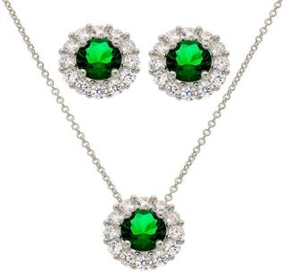 Savvy Cie Lab Created Emerald & CZ Pendant Necklace & Stud Earring Set