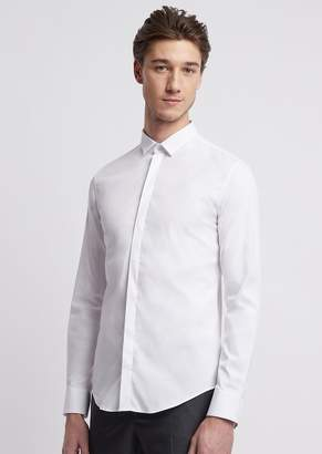 Emporio Armani Stretch Cotton Shirt With Small Collar And Concealed Fastening