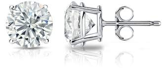 Diamond Wish GIA Certified 18k White Gold Round Diamond Stud Earrings 4-Prong (5.10 cttw, H-I Color, SI2-I1 Clarity)