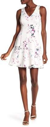 Kensie Floral Print Fit & Flare Dess