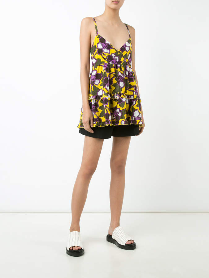 P.A.R.O.S.H. flared floral camisole top