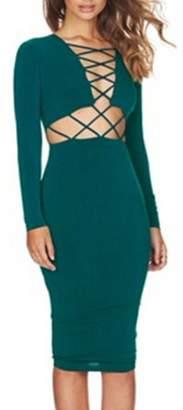 Sunrain Hot Sale Fashion Clubwear Dress Cross Straps Front Long Sleeve Bodycon Bandage Dress