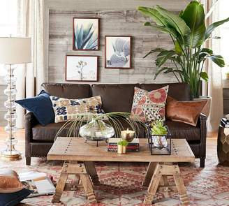 Pottery Barn Tyler Leather Square Arm Sofa With Nailheads
