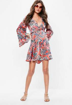 Missguided Coral Paisley Satin Flared Sleeve Skater Dress