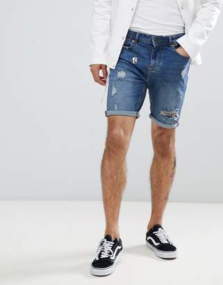 Pull&Bear Slim Fit Denim Shorts In Blue With Rips