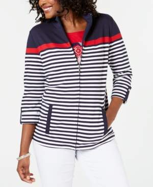 Karen Scott French Terry Striped Hoodie, Created for Macy's