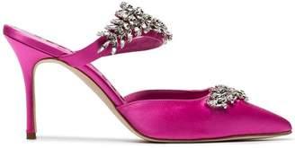 Manolo Blahnik Pink Lurum Crystal 90 Satin Mules