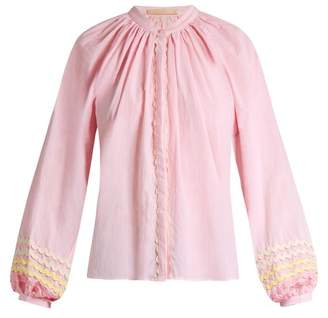 RAC Bliss And Mischief - Ric Trimmed Cotton Blouse - Womens - Light Pink