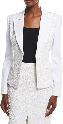 Michael Kors Floral-Embroidered One-Button Tailored Blazer