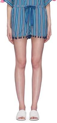 Figue 'Maja' pompom cuff stripe shorts