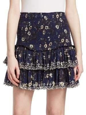 Etoile Isabel Marant Naomi Floral Flounce Mini Skirt