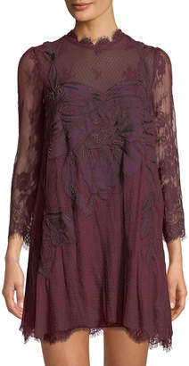 Free People Party Swan Mock-Neck Illusion Mini Dress