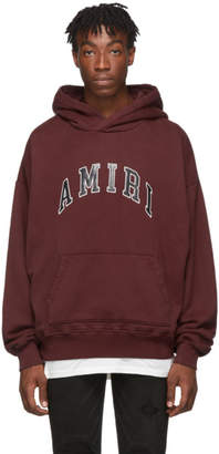Amiri Burgundy College Logo Hoodie