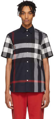 Burberry Navy IP Check Windsor Short Sleeve Shirt