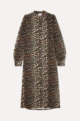 Ganni Leopard-print Denim Dress - Leopard print