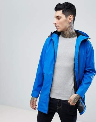 Asos Shower Resistant Rain Coat With Fleece Lined Hood In Blue