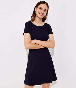 LOFT Petite Bow Back Flare Dress