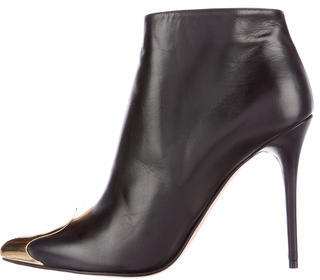 Alexander McQueenAlexander McQueen Leather Cap-Toe Ankle Boots w/ Tags