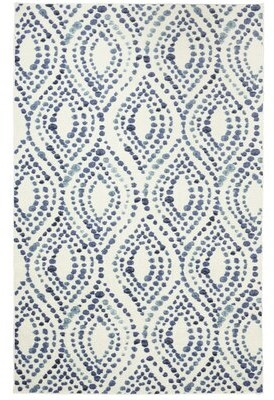 Bungalow Rose Poston Dotted Ogee Navy Area Rug