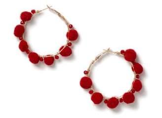 Miss Selfridge Red pom hoop earring