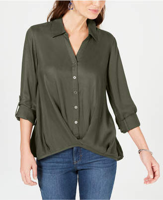 Style&Co. Style & Co Twist-Front Roll-Tab Shirt, Created for Macy's
