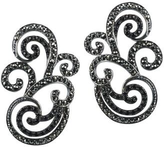 Suspicion Sterling Black Spinel & Marcasite Swirl Earrings