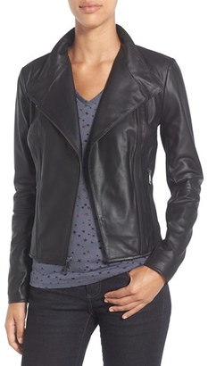 Women's Marc New York By Andrew Marc 'Felix' Stand Collar Leather Jacket $450 thestylecure.com