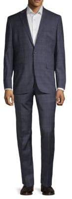 Kenneth Cole New York Plaid Regular-Fit Wool Blend Suit