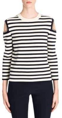 Alexander McQueen Wool Chain Shoulder Cutout Sweater