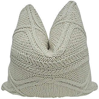 One Kings Lane Vintage Natural Cable Knit & Linen Pillow
