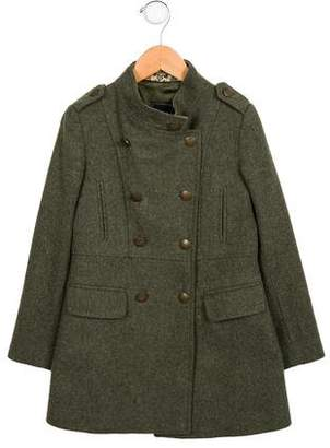 Oscar de la Renta Girls' Double-Breasted Wool Coat