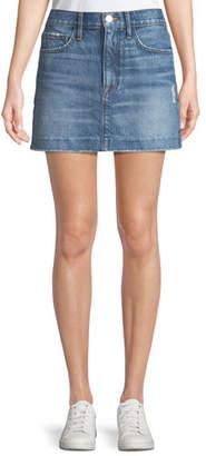 Frame Le Mini Distressed Denim Skirt