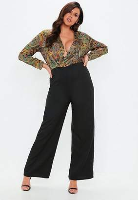 Missguided Plus Size Yellow Paisley Drape Front Romper