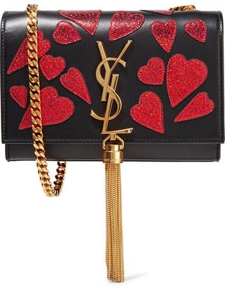 Saint Laurent - Monogramme Kate Small Appliquéd Leather Shoulder Bag - Black $1,990 thestylecure.com