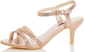 9a9e04cd2aa Dorothy Perkins Womens  Quiz Wide Fit Rose Gold Heeled Sandals
