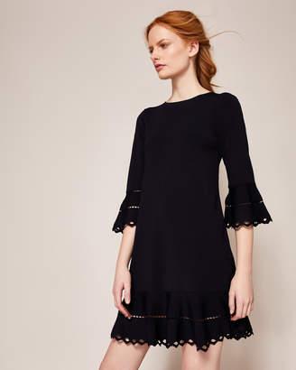 YAZMIIN Knitted frill detail dress