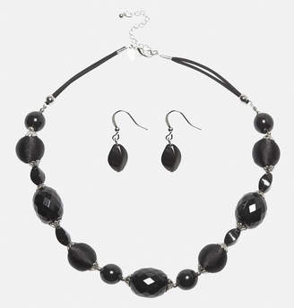 Avenue Large Jet Necklace Earring Set