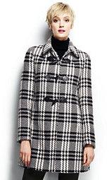 Lands' End Women's Wool Toggle Coat-Black/Warm Canvas Plaid $239 thestylecure.com
