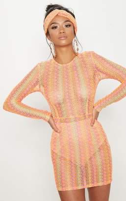 PrettyLittleThing Petite Neon Pink Crochet Shift Dress