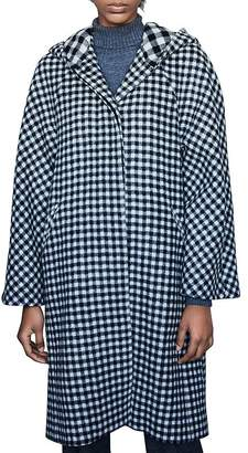 Maje Goga Hooded Gingham Coat