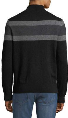 Neiman Marcus Men's Striped Cashmere 1/4-Zip Sweater