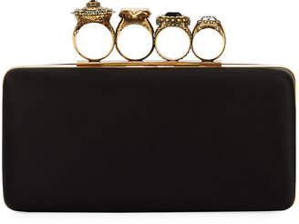 Alexander McQueen Knuckle Grain Leather Clutch Bag, Black
