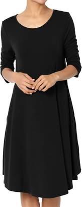 Ash TheMogan Women's 3/4 Sleeve Trapeze Knit Pocket T-Shirt Dress Black S