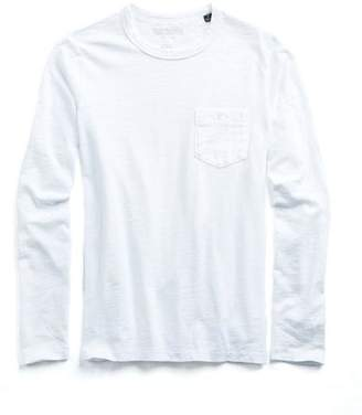 Todd Snyder Made in L.A. Garment Dyed Long Sleeve Tee in White