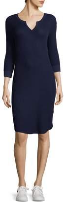 Three Dots Women's Ribbed Henley Dress