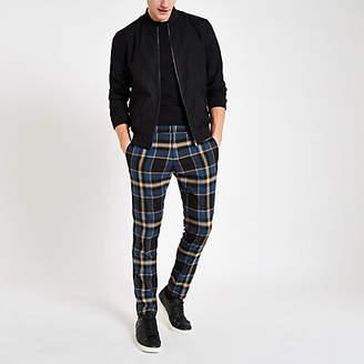 River Island Blue plaid skinny smart pants